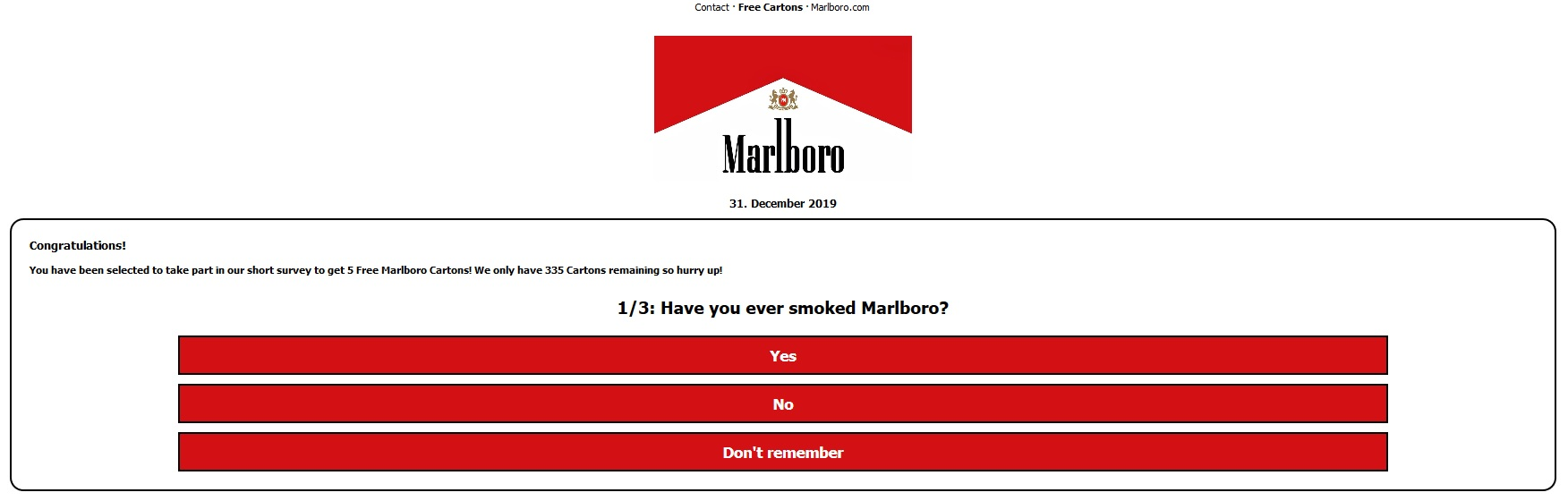 Arnaque au fond sondage contre Marlboro