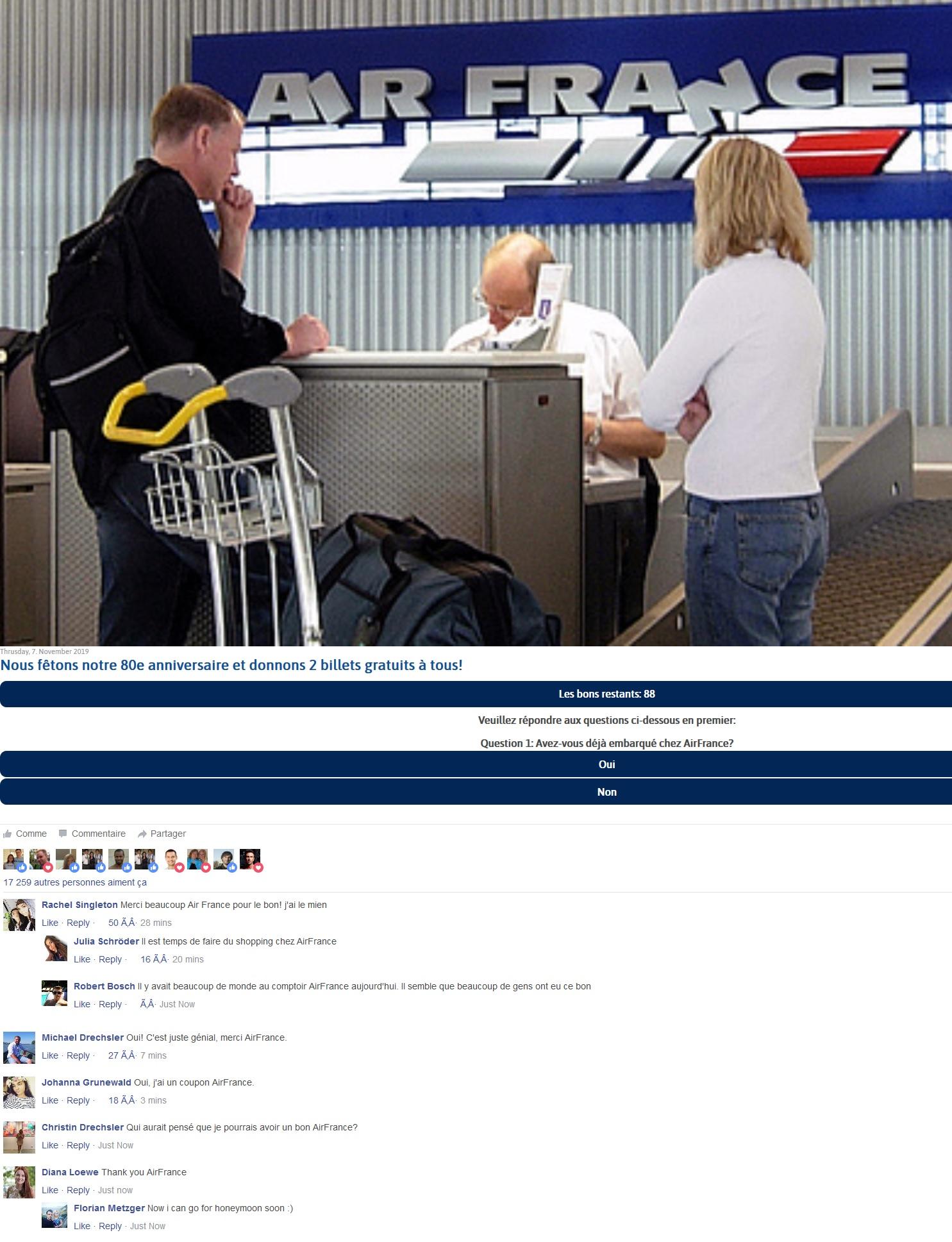 Cybersquatting Nom Domaine pour des Faux billets d'avion Air France gratuits