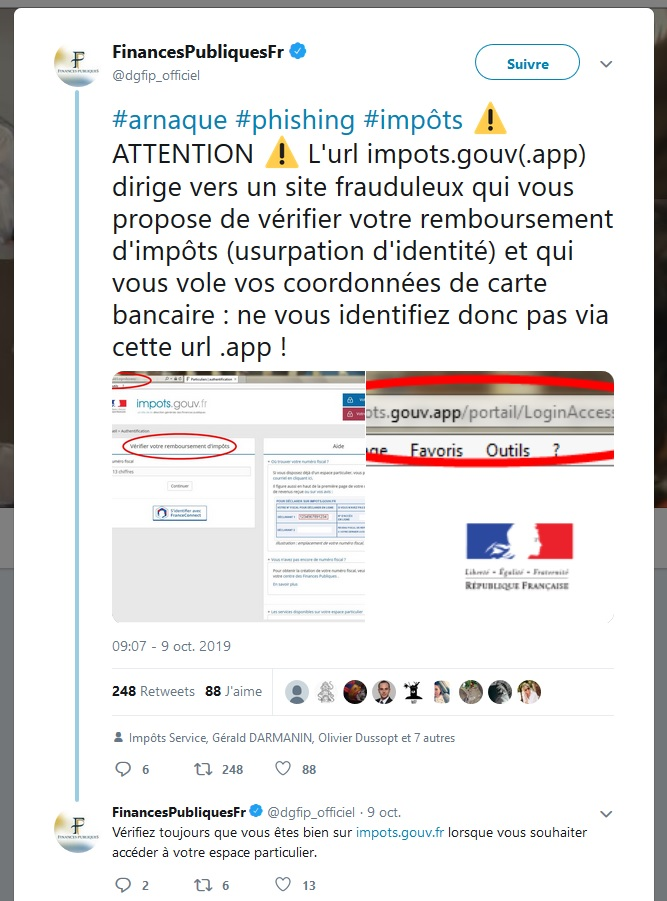 Faux Nom Domaine Impots Phishing