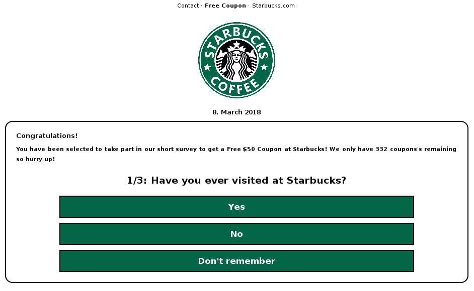 Nom DomainePhishing Faux Sondage Starbucks