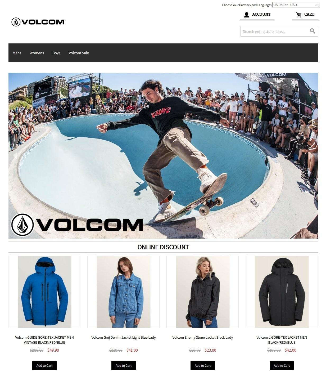 faux vêtements Volcom