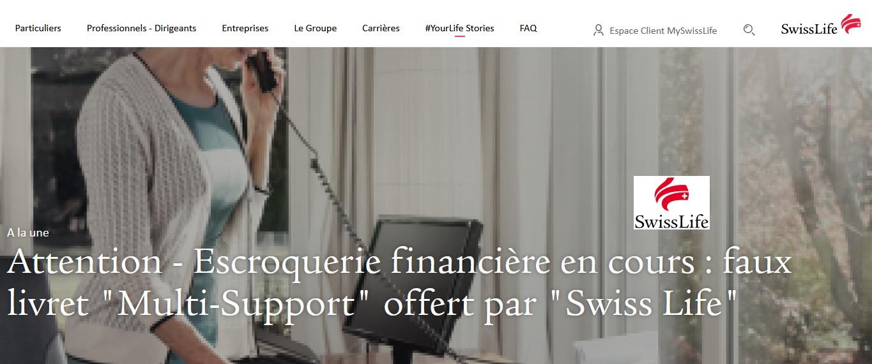 Escroquerie Financière Swiss Life